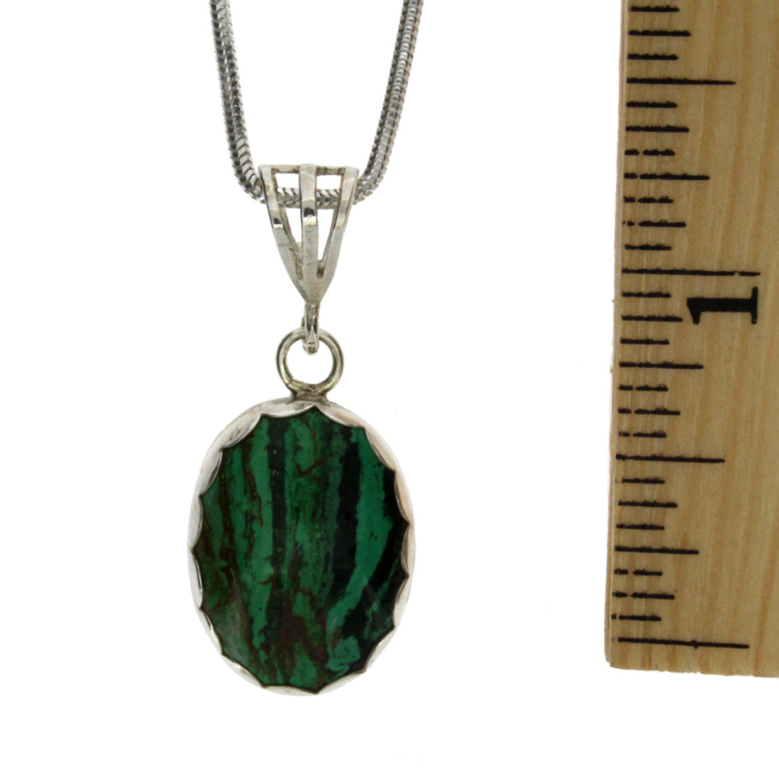 Small Oval Malachite Pendant Sterling Silver