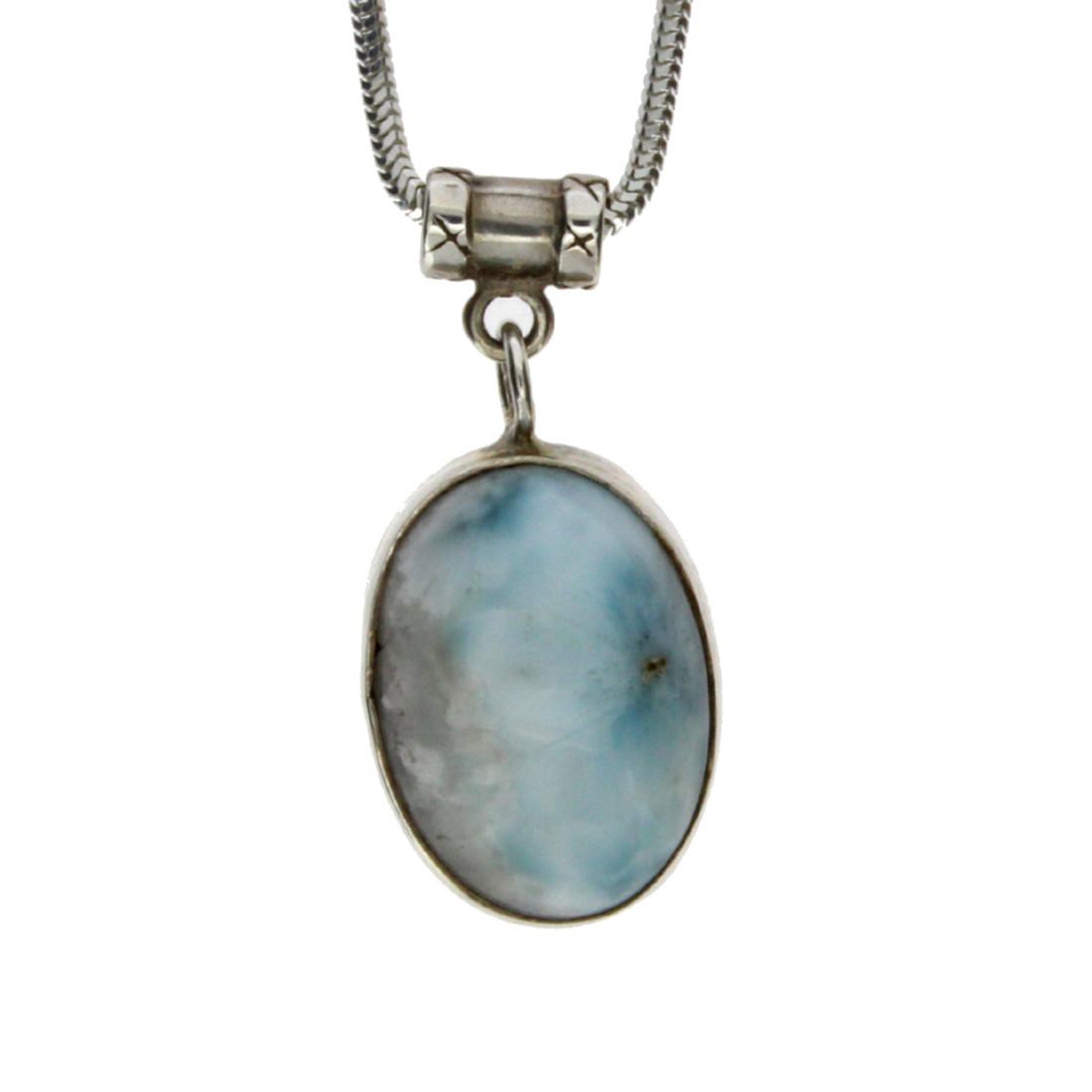 Light blue Larimar sterling silver pendant.