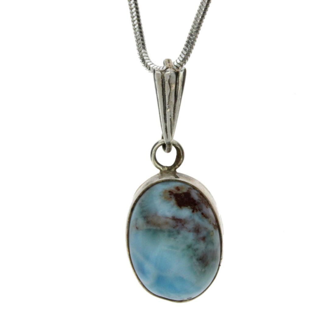 Small oval Larimar pendant.