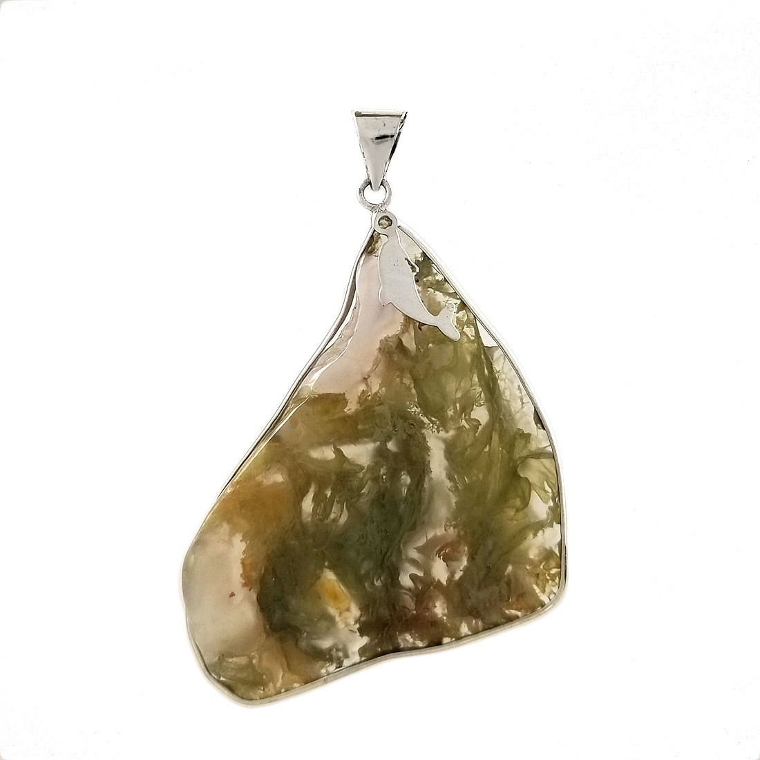 Green Moss Agate sterling silver pendant.