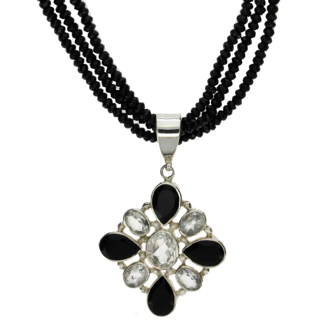 Black Onyx and clear Quartz necklace.