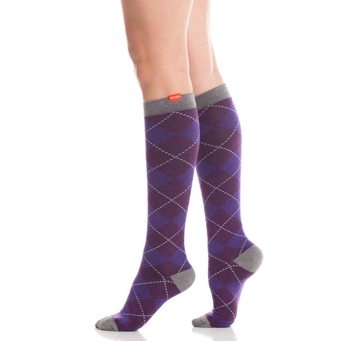 327f418b94 Women's Cotton Knee High Compression Socks Purple Argyle - Purple ...