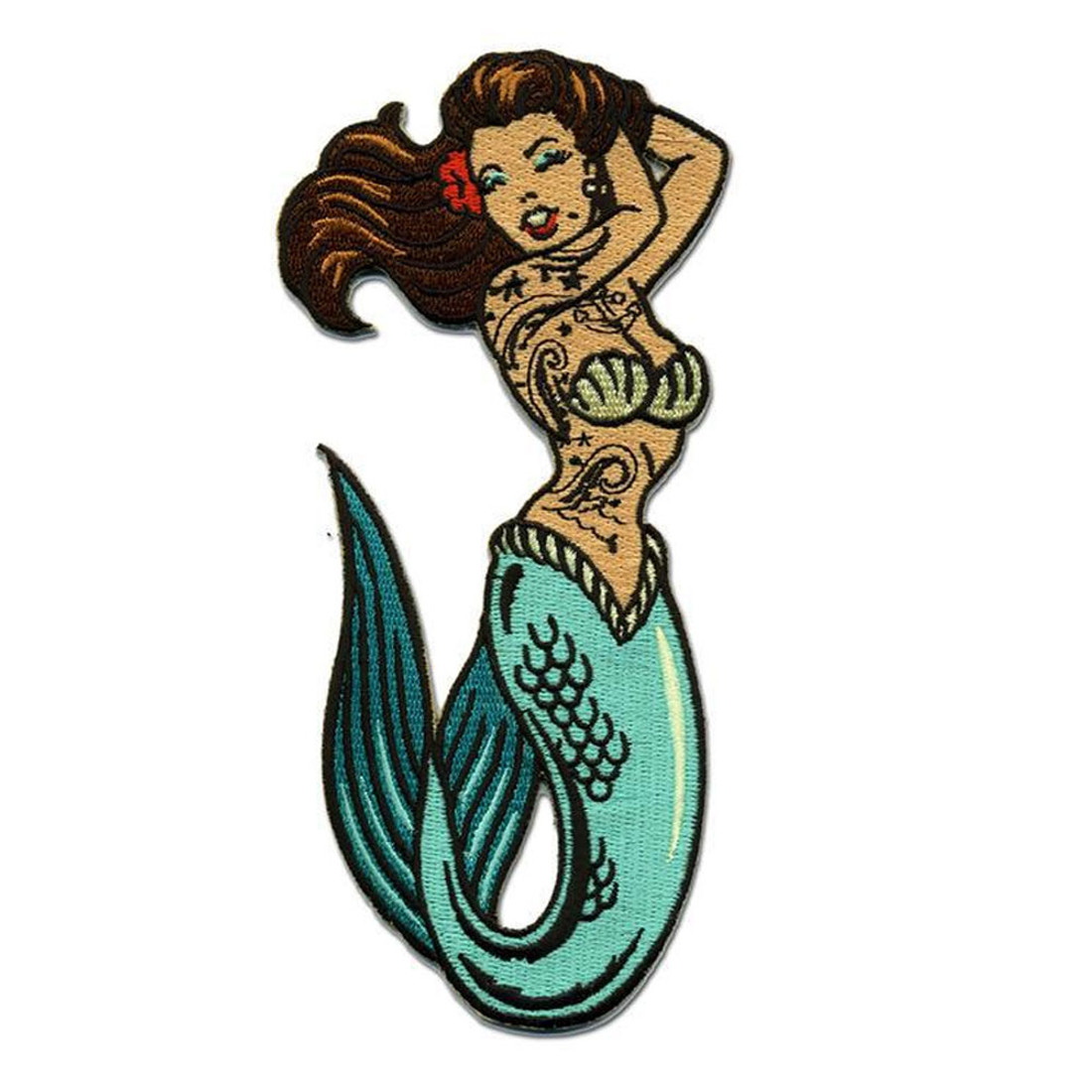 Pin Up Girl Tattoo Mermaid Patch Embroidered Iron On Applique