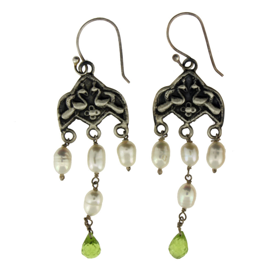 Chandelier style Pearl and Peridot earrings.
