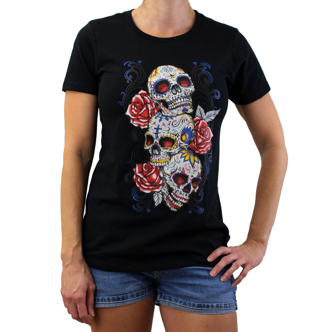 Black tee shirt with 3 Day of the Dead skulls.