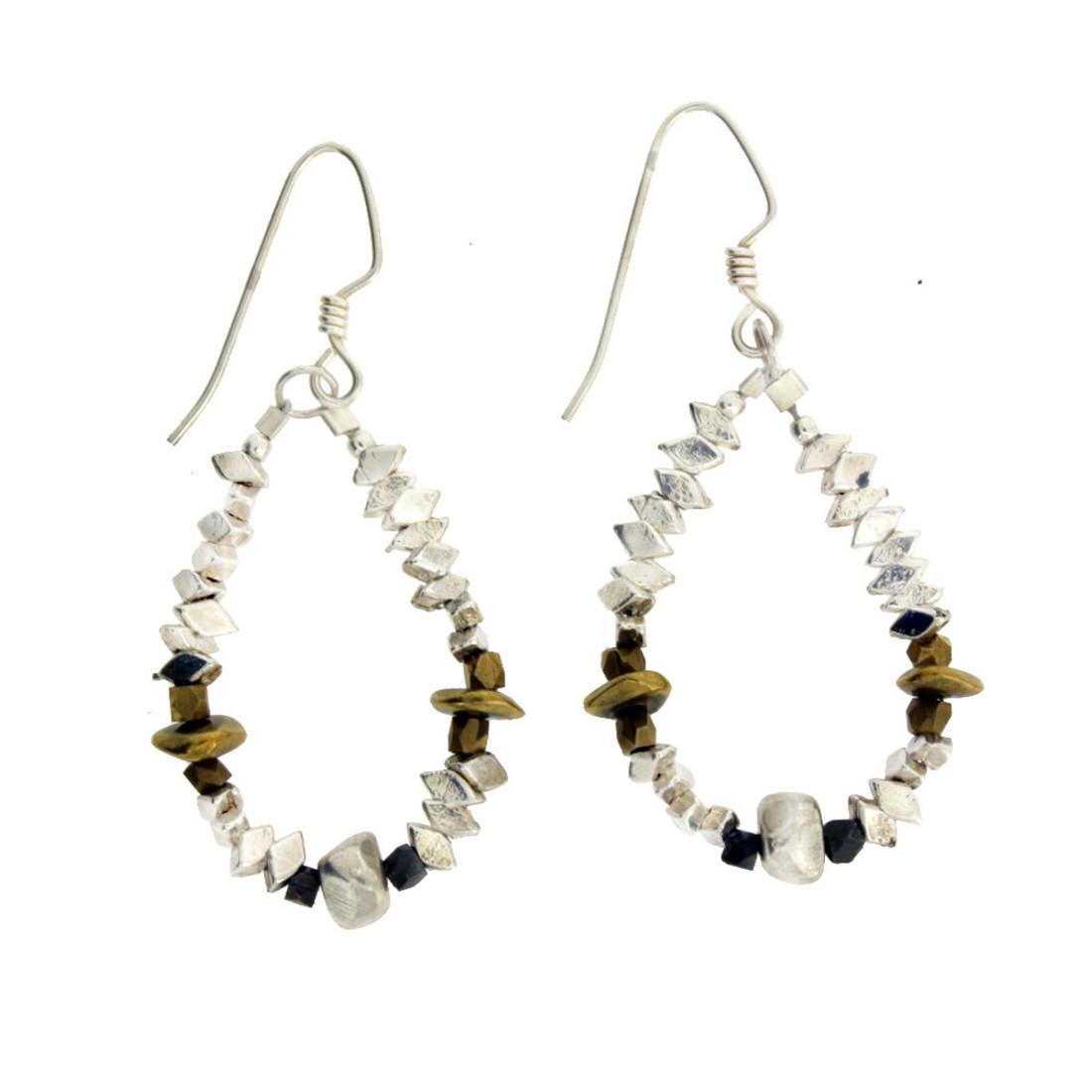 Beaded silver dangle earrings.
