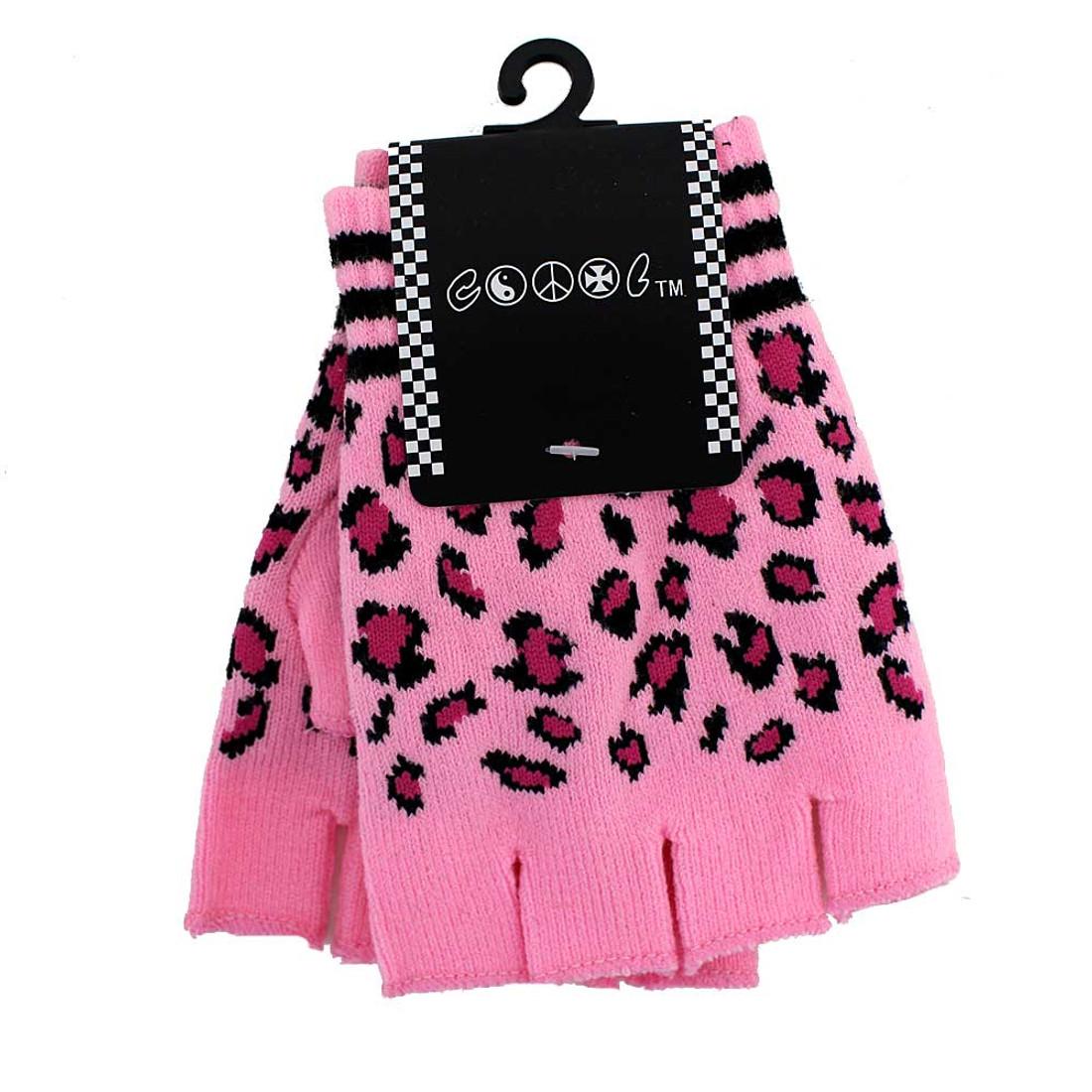 Pink leopard fingerless gloves.