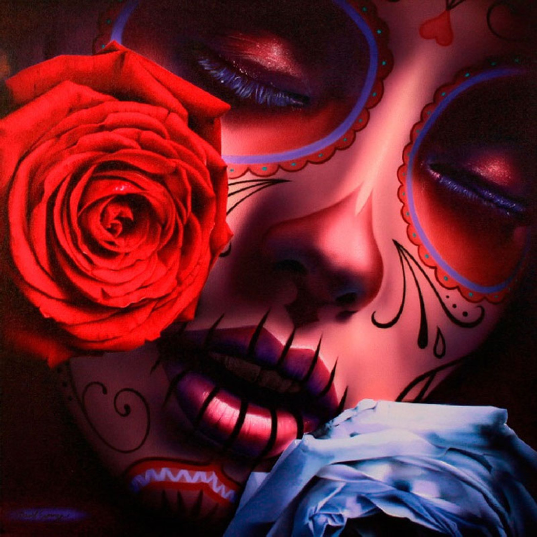 Daniel Esparza Sugar Skull Canvas Giclee - Amor Eterno