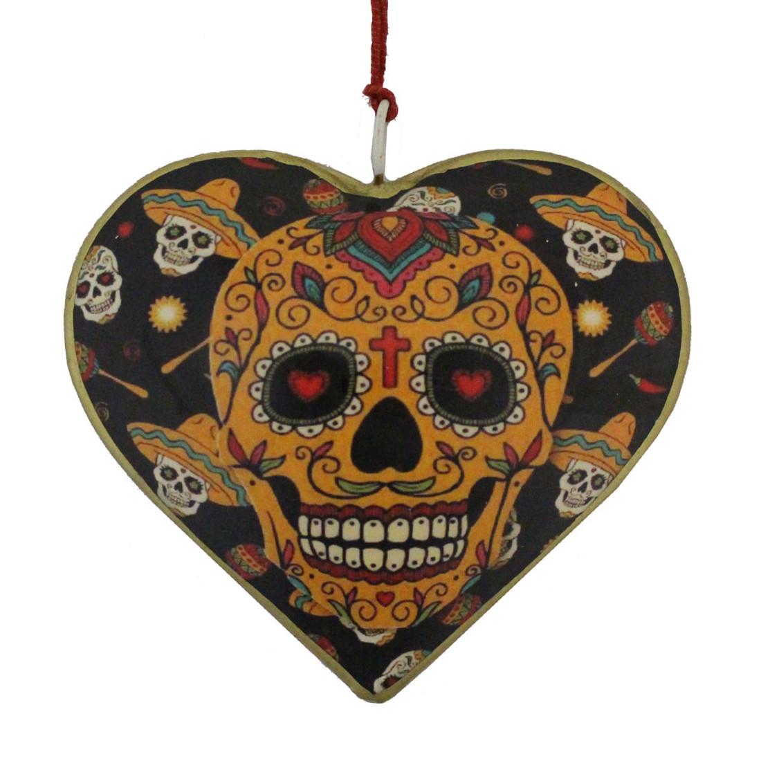 Fiesta Sugar Skull Day of the Dead Heart Christmas Holiday Ornament
