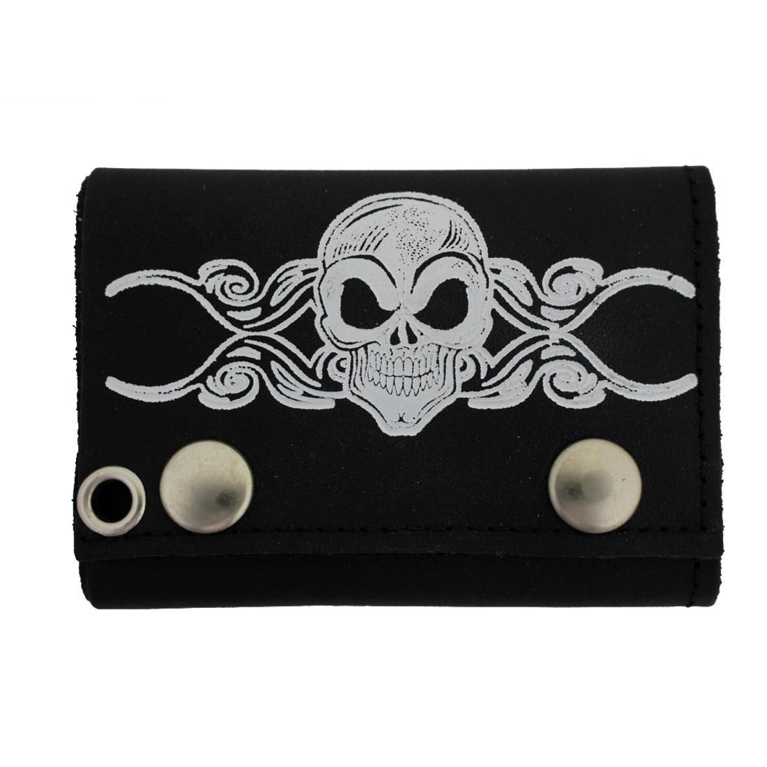 Skull & Tribal Design Men's Biker Black Leather Chain Wallet Trifold Billfold