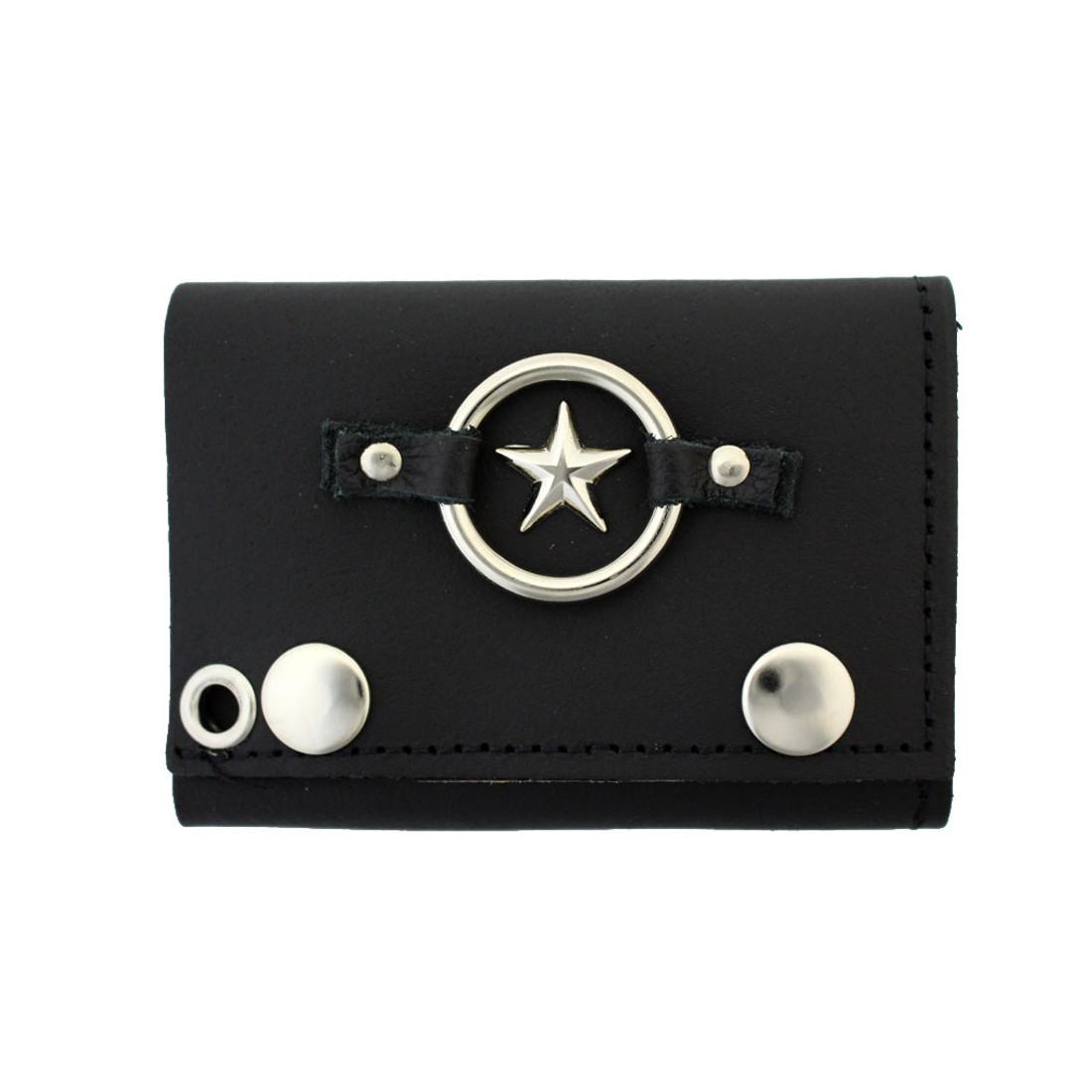 Men's Black Leather Wallet Chain Biker Trifold with Star Emblem