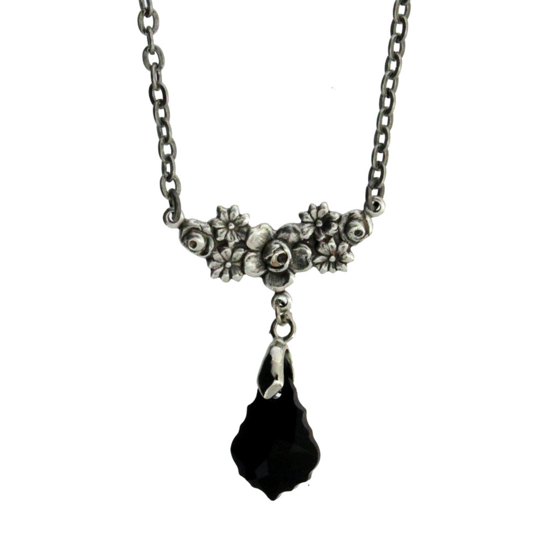 "18"" Vintage Antiqued Style Silver Plated Flower Cluster Pendant Necklace with Black Baroque Swarovski Crystal"