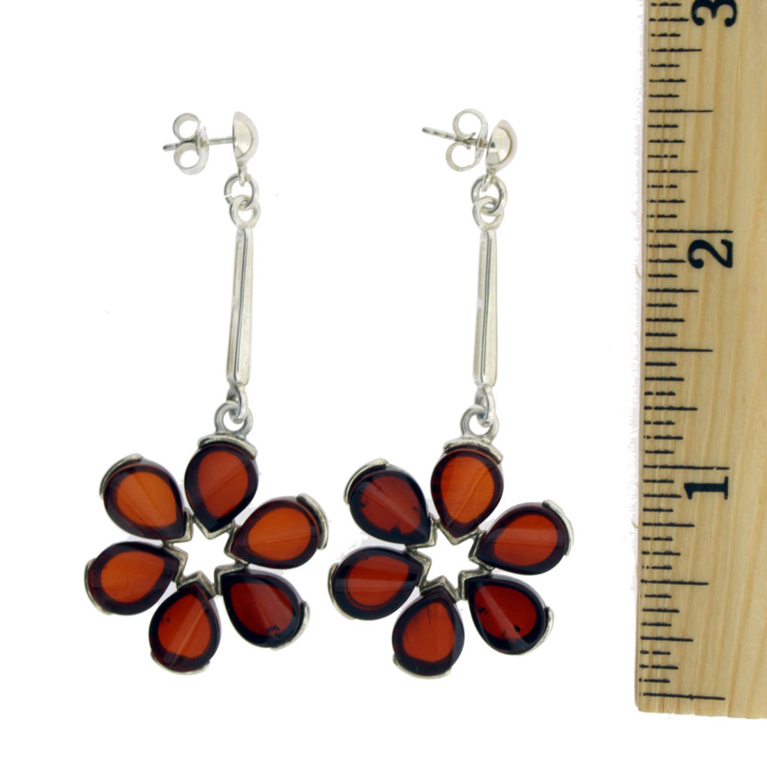 Amber Flower Dangle Earrings Sterling Silver