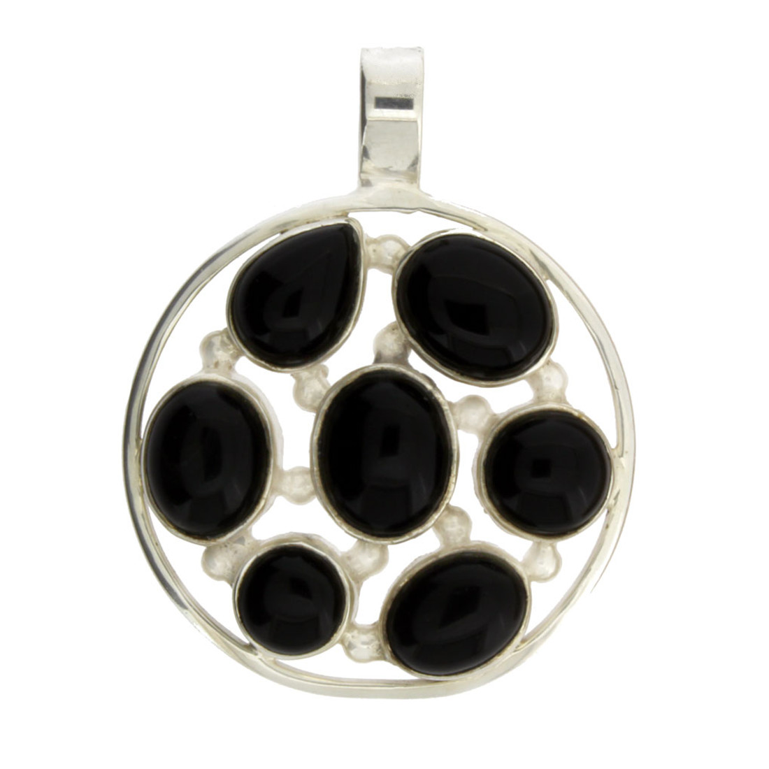 Round Multi Stone Black Onyx Sterling Silver Pendant