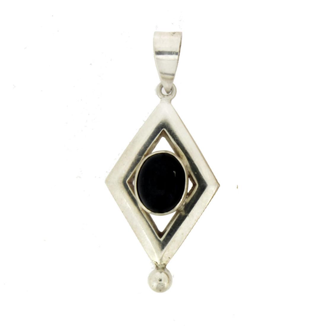 Oval Cabochon Stone Black Onyx Sterling Silver Pendant
