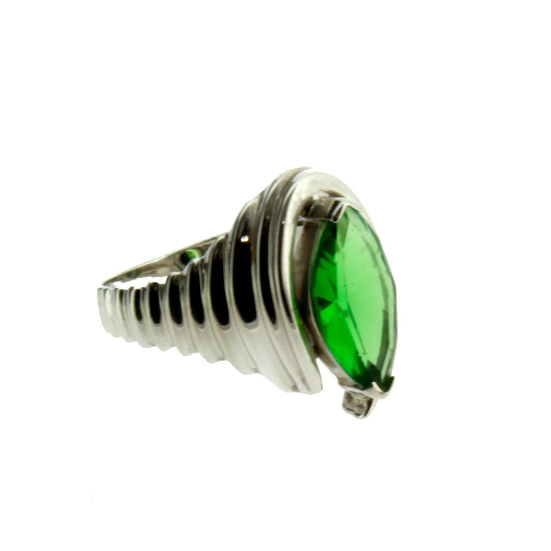 Marquise Faceted Stone Green Helenite Sterling Silver Ring