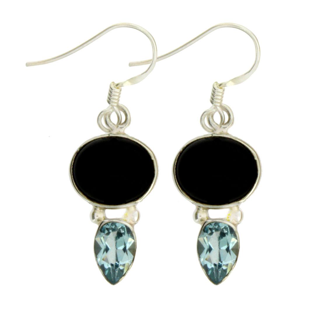 Black Onyx and Blue Topaz Sterling Silver Dangle Earrings
