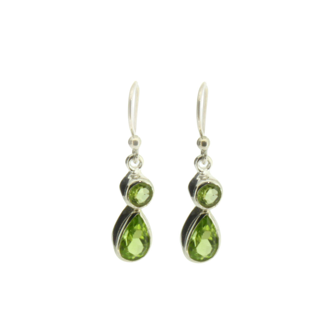 Small Faceted Green Peridot Dangle Earrings Sterling Silver