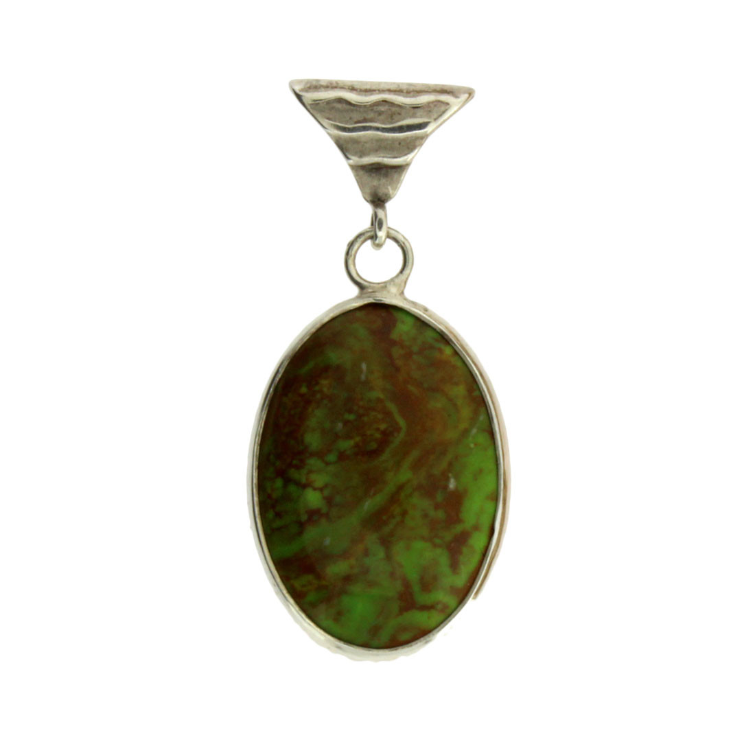Oval Green Turquoise Sterling Silver Pendant