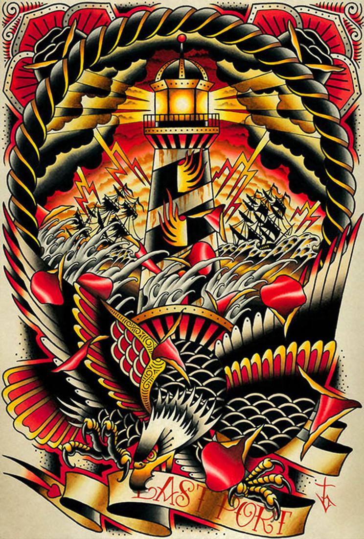 Final Port by Tyler Bredeweg Canvas Giclee Nautical Lighthouse American Eagle