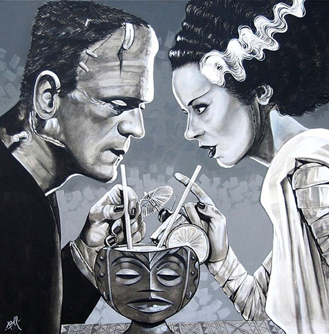 acf8cb1665f8 Amorous Libation by Mike Bell Canvas Giclee Art Print Bride of Frankenstein  Monster
