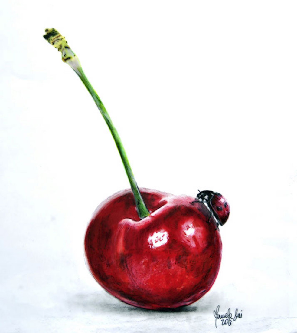 Ladybug and Cherry by Manuela Lai Canvas Giclee Art Print