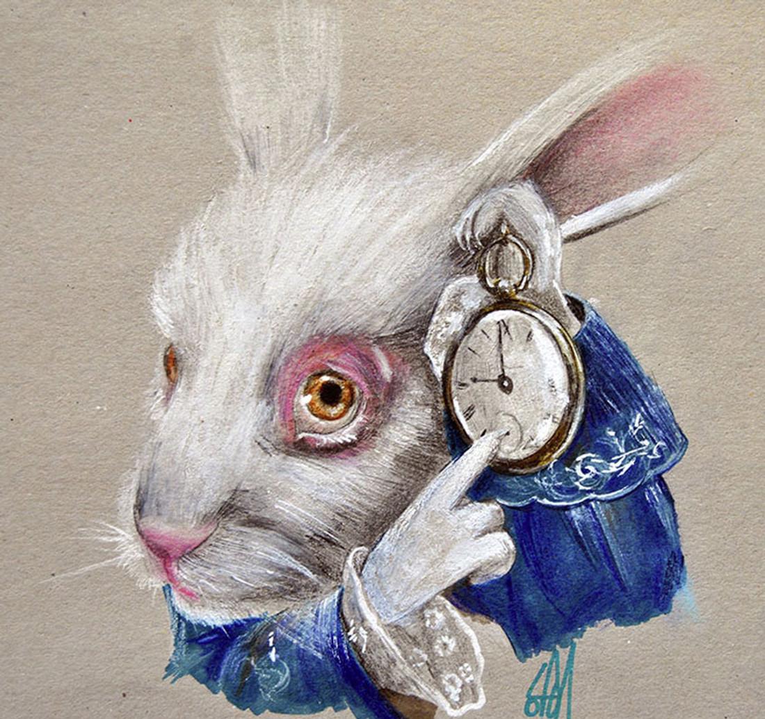 White Rabbit Time by Manuela Lai Canvas Giclee Art Print Alice In Wonderland