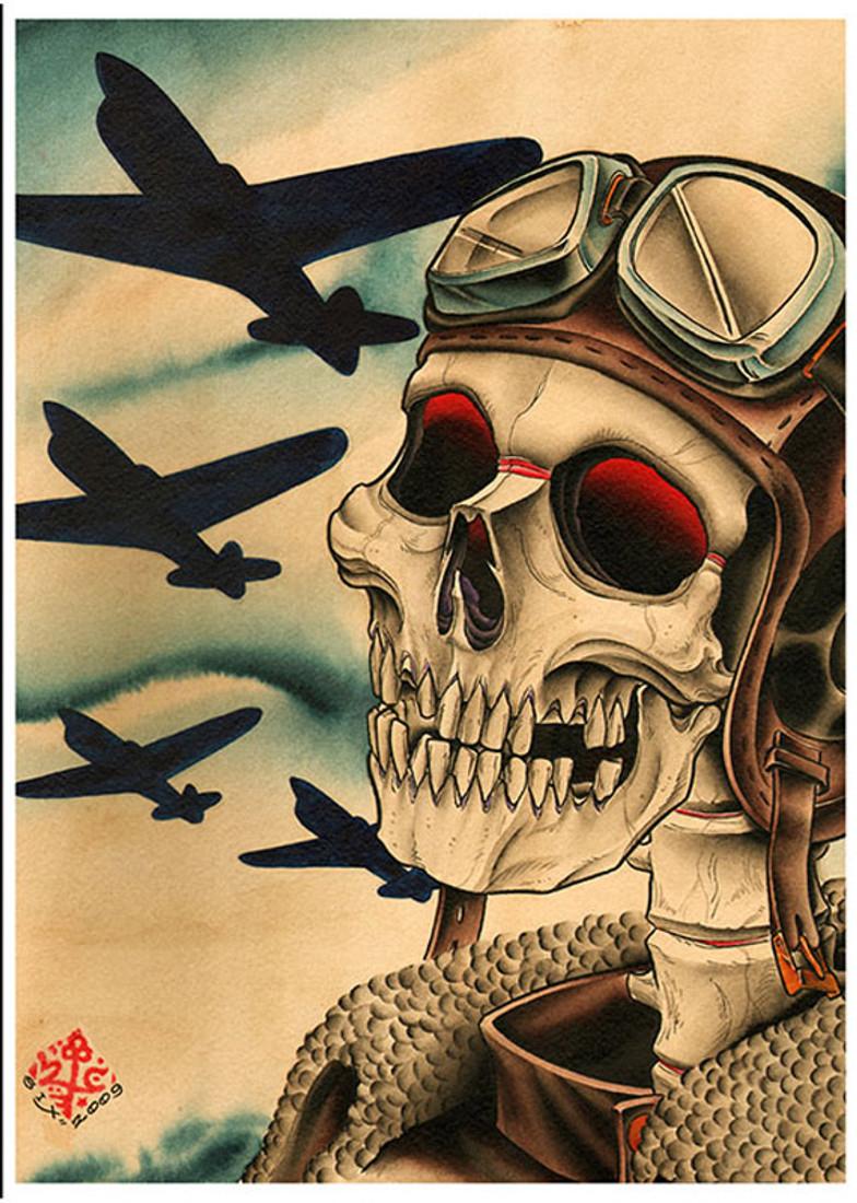 Pilot by 2 Cents Fine Art Print Skeleton Military Bomber Planes
