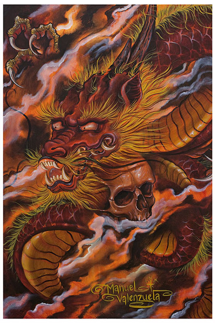 Dragons Descent and Skull by Manuel Valenzuela Tattoo Fine Art Print