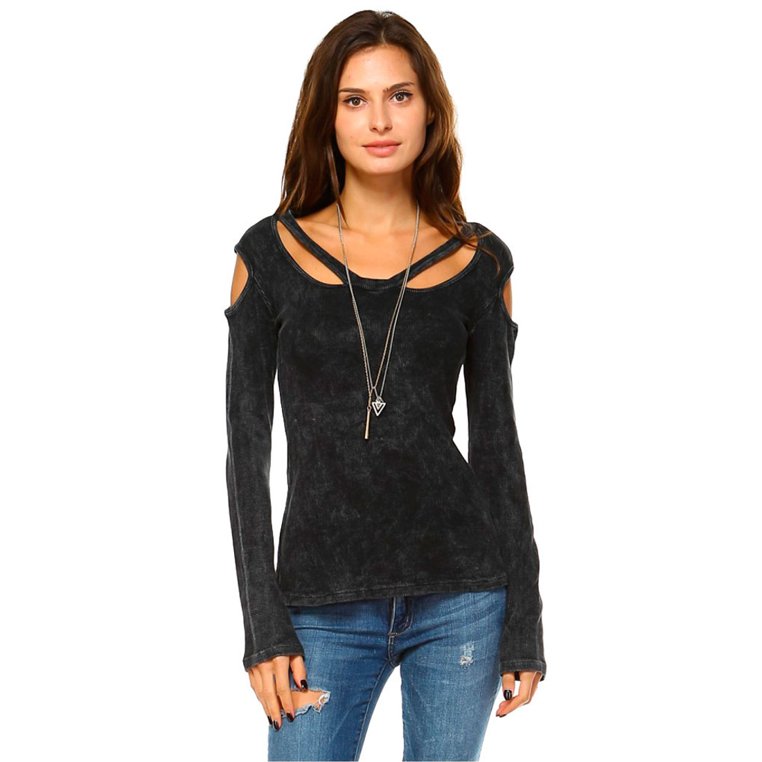Black Women's Mineral Washed Long Sleeve Shirt with Cold Shoulder Detail