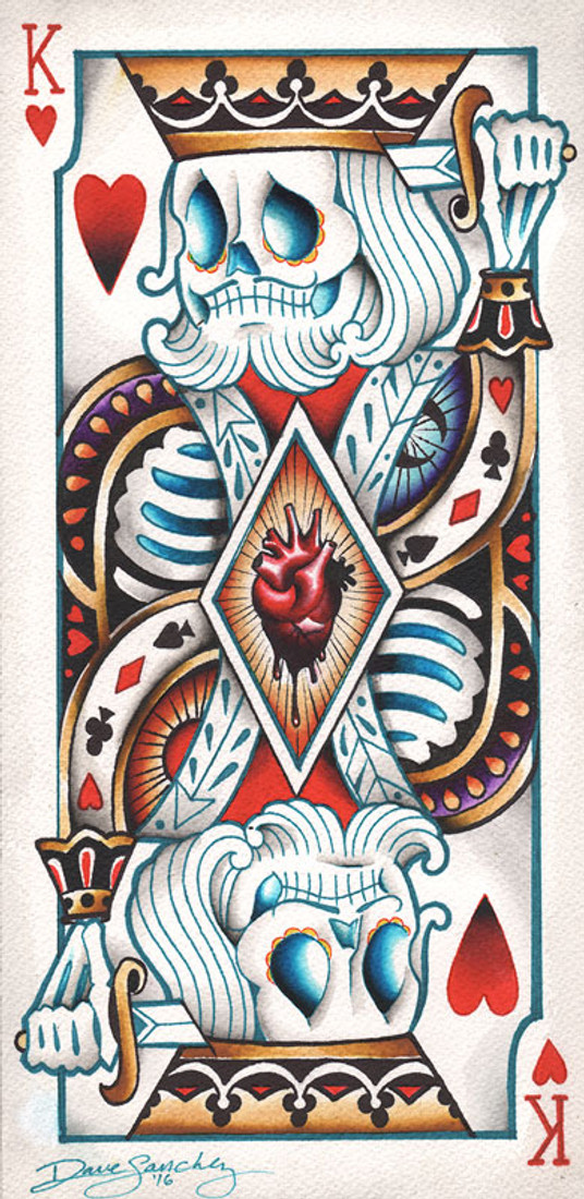 Suicide King by Dave Sanchez Canvas Giclee Tattoo Art Print Sugar Skull Playing Card