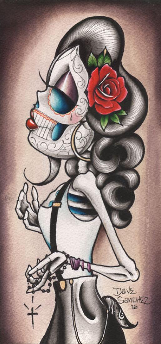 Rosie Y Que by Dave Sanchez Canvas Giclee Tattoo Art Print Sugar Skull