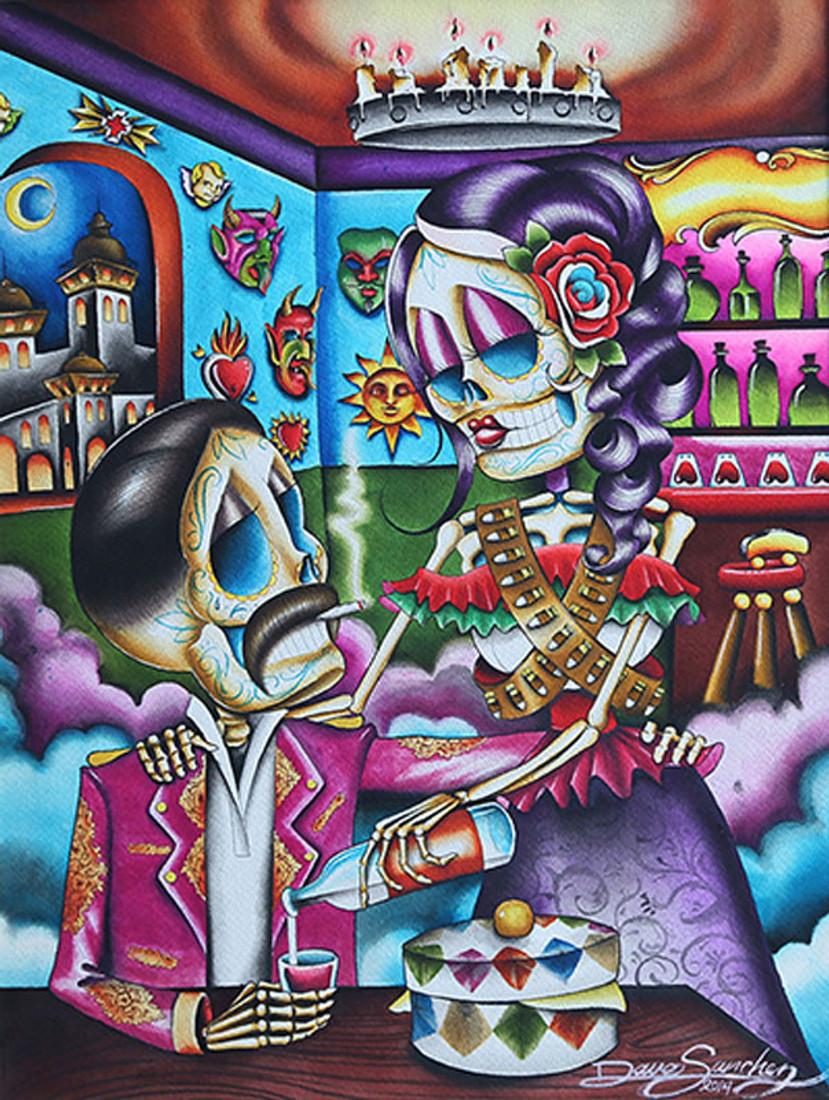 Gracias Mi Amor by Dave Sanchez Canvas Giclee Tattoo Art Print Sugar Skull