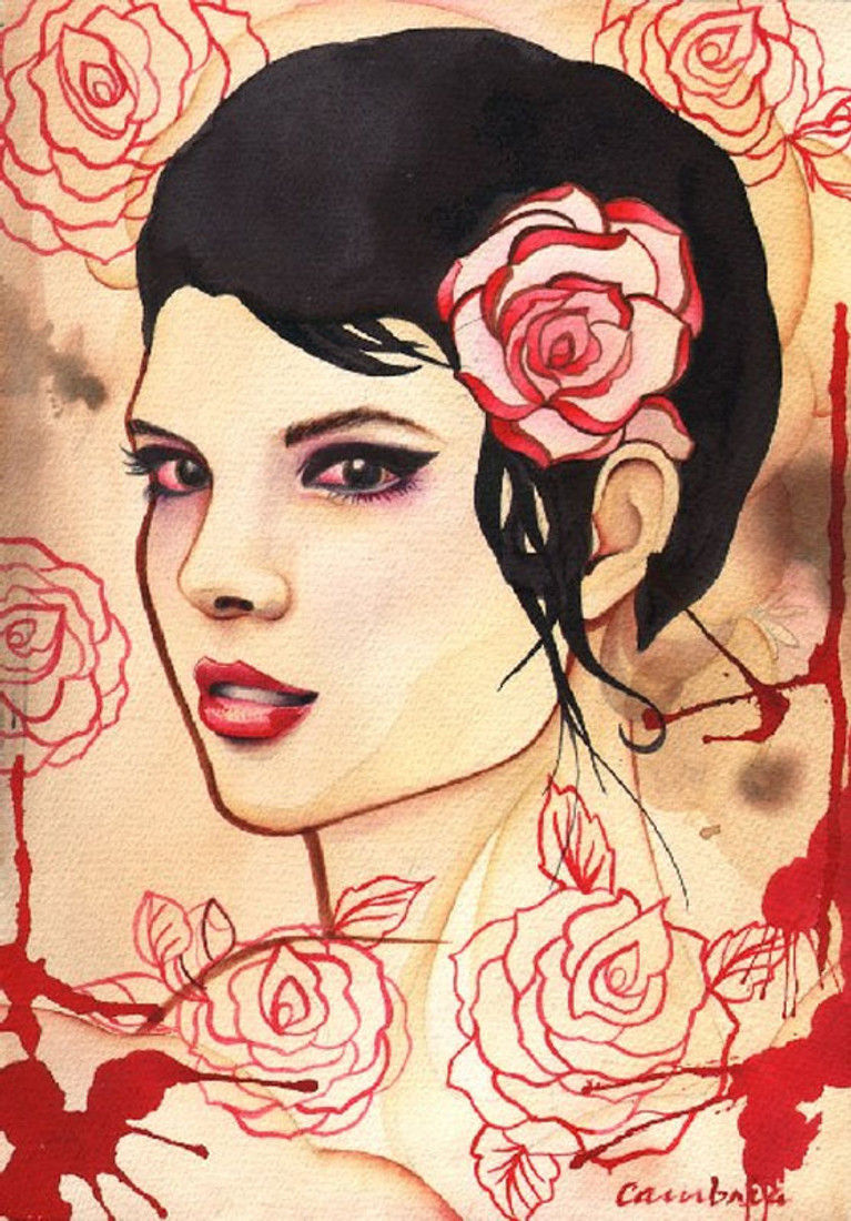 Rose Red by Cambria Canvas Giclee Tattoo Art Print Beautiful Woman