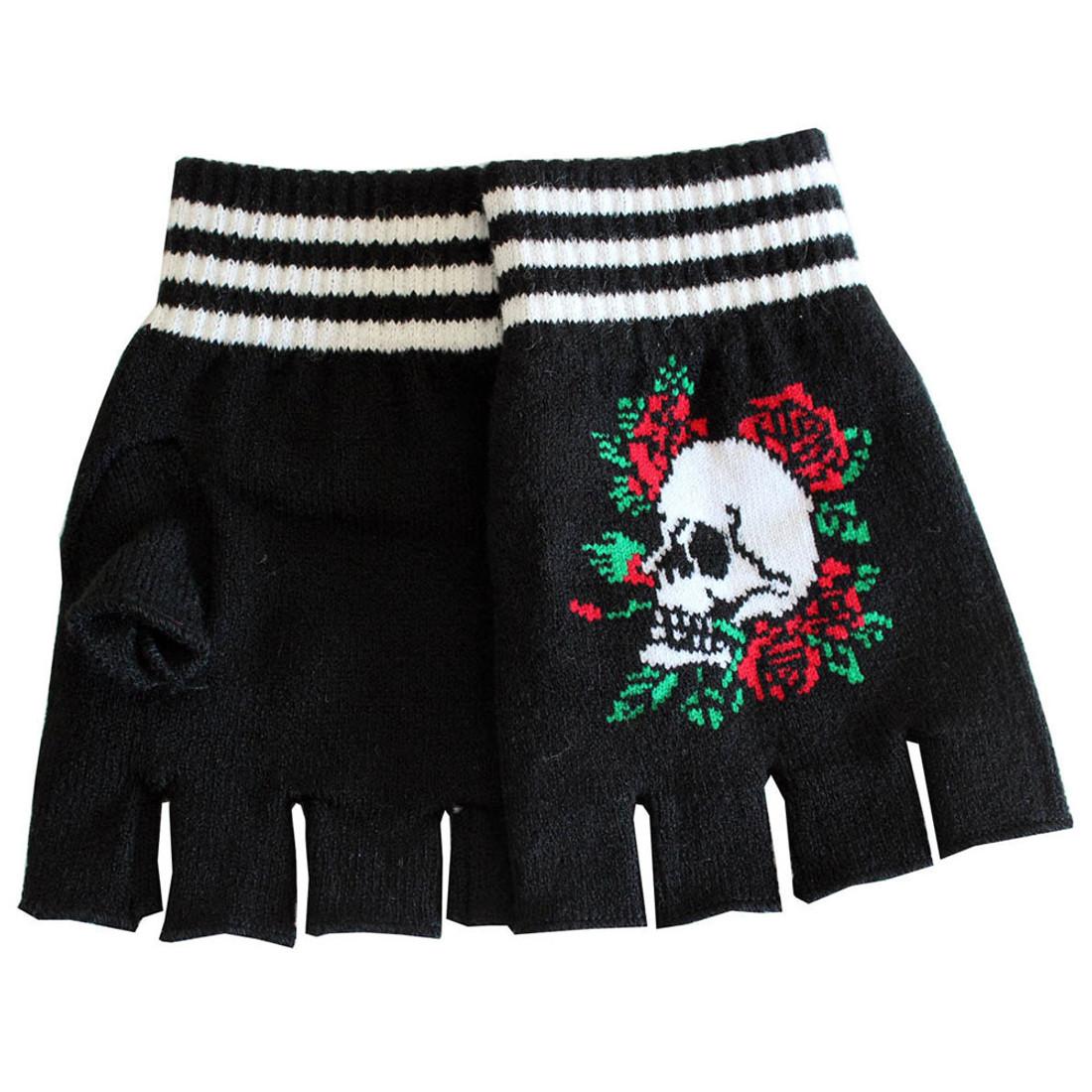 Skull and Roses Black Knitted Fingerless Gloves