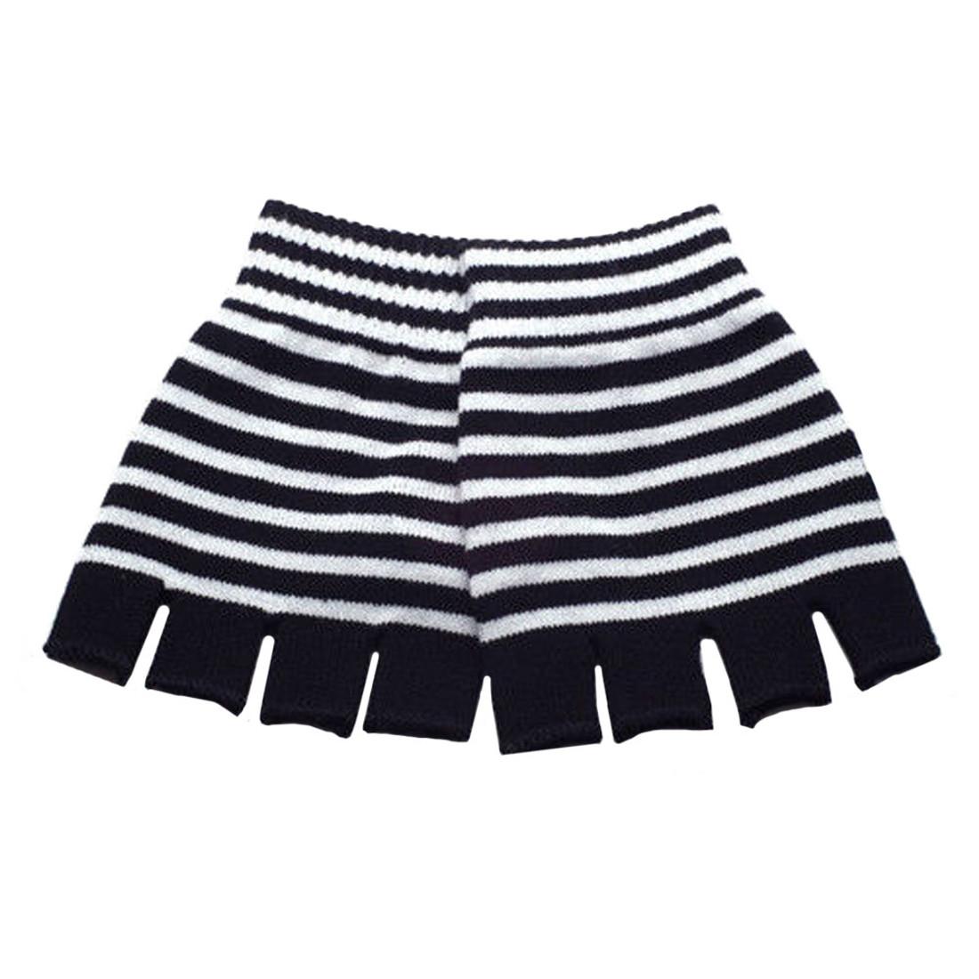 Black and White Striped Knitted Fingerless Gloves