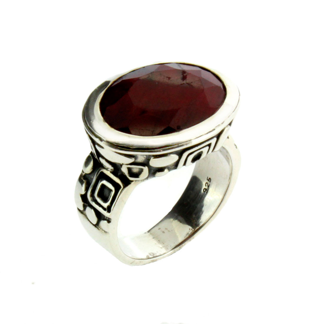 Red Raw Ruby Faceted Cut Sterling Silver Ring