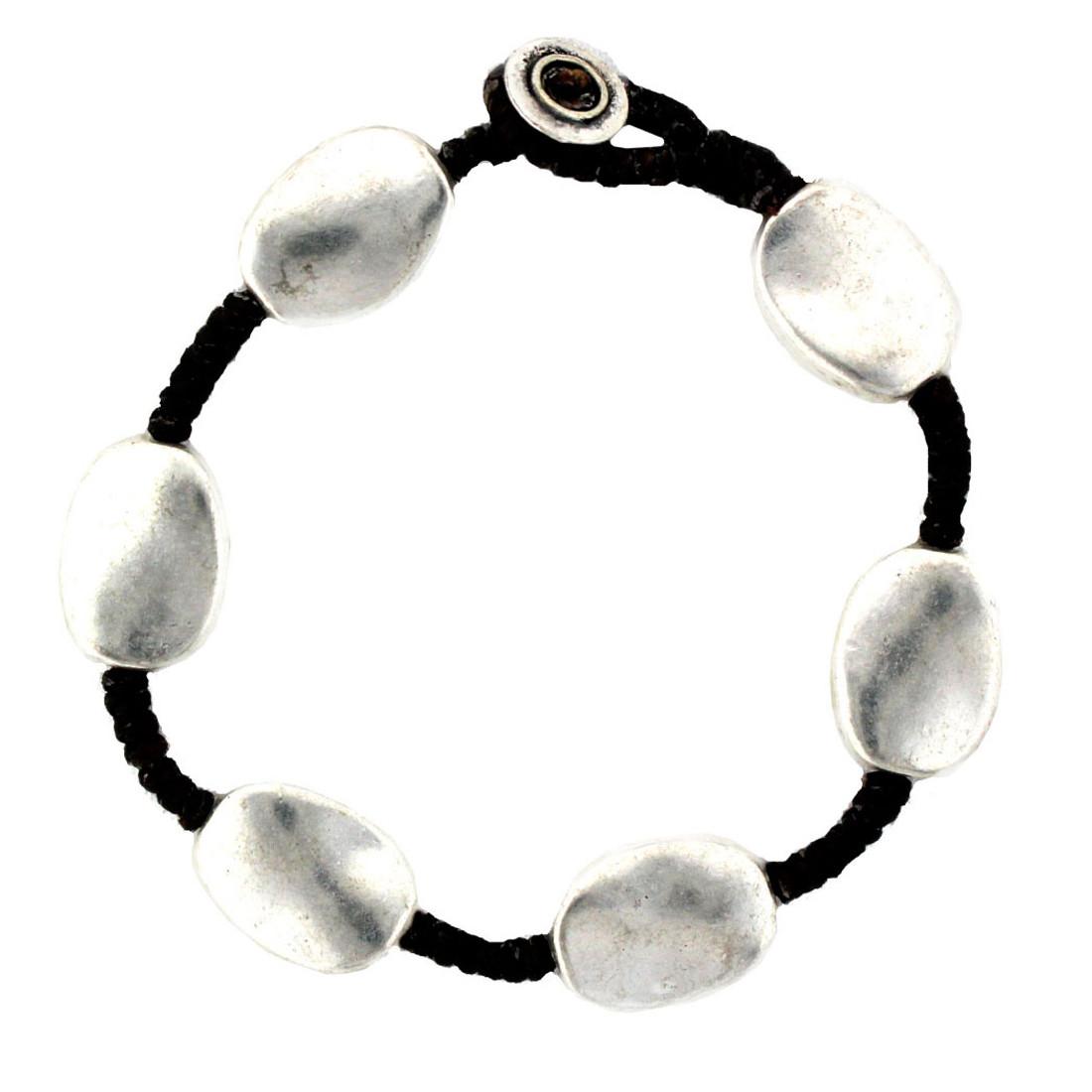 Oval Silver Alloy Bracelet Wrist Jewelry Waxed Linen Wristband