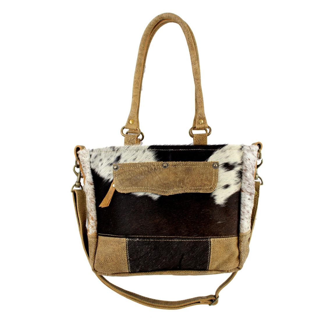 Brown Cowhide Fur Leather Patchwork Shoulder Bag Chloe and Lex