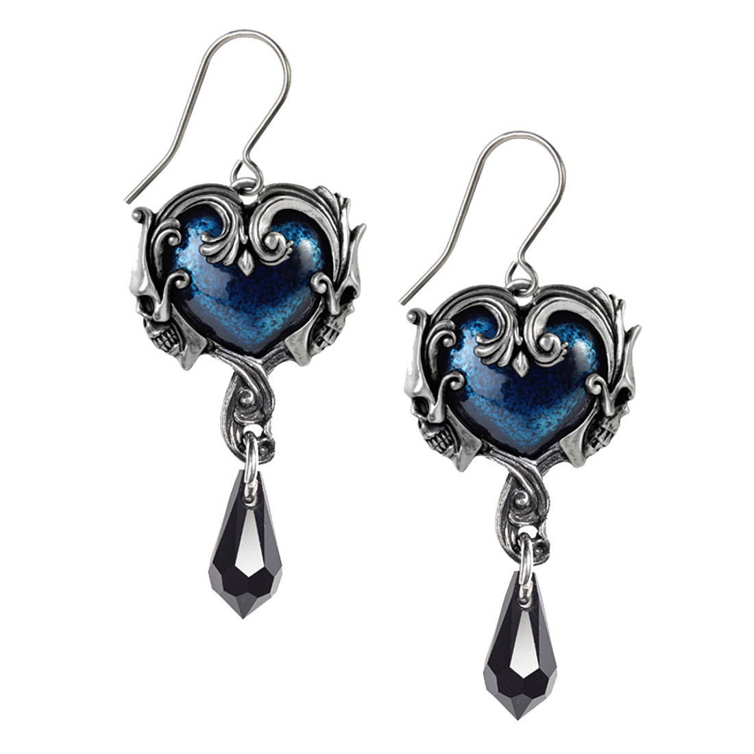 Alchemy Gothic Affaire Du Coeur Dangle Hook Earrings Pewter Jewelry E414