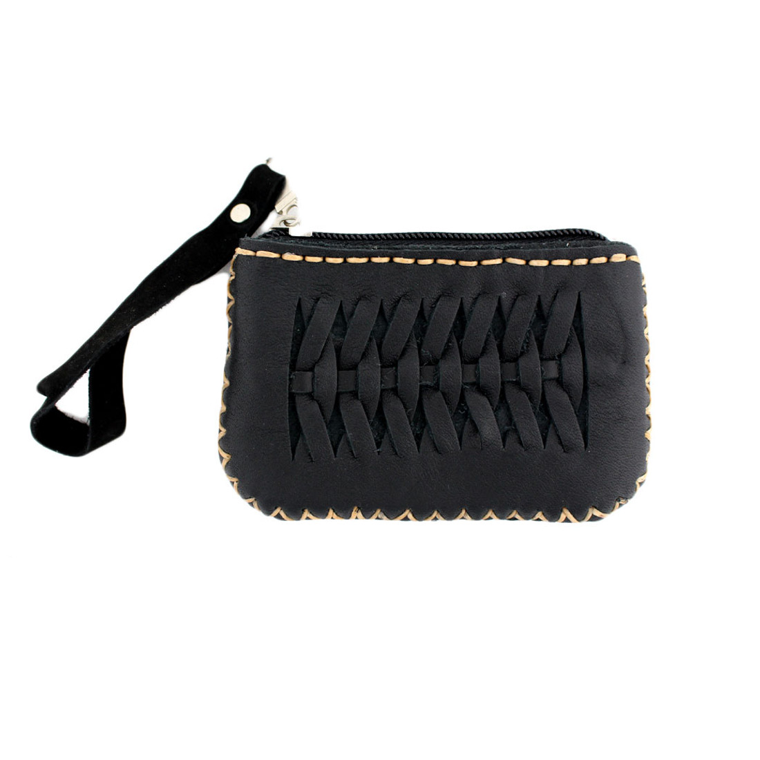 Small Black Leather Coin Purse or Wristlet