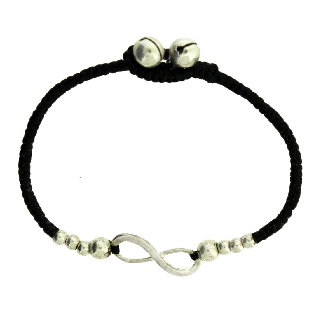 Infinity Design Silver Alloy Bracelet Wrist Jewelry Waxed Linen Wristband