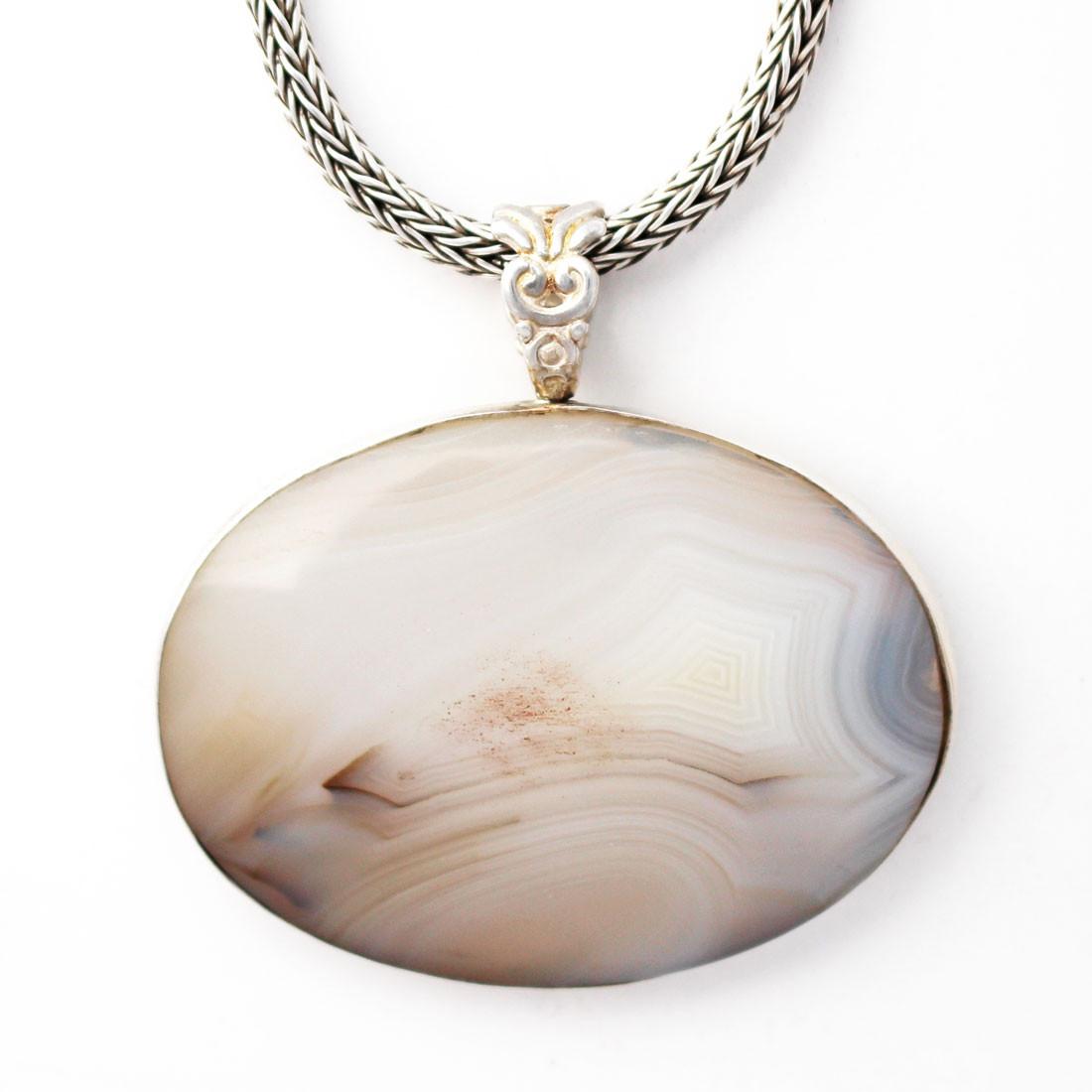 Handmade Oval White Agate Pendant Sterling Silver