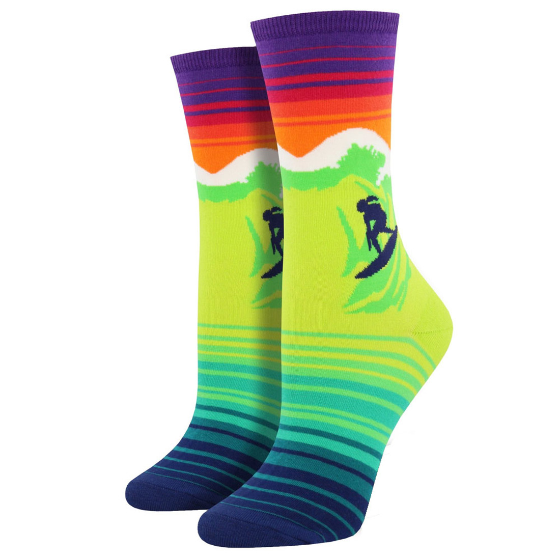 Women's Crew Socks Catch A Wave Surfer Green