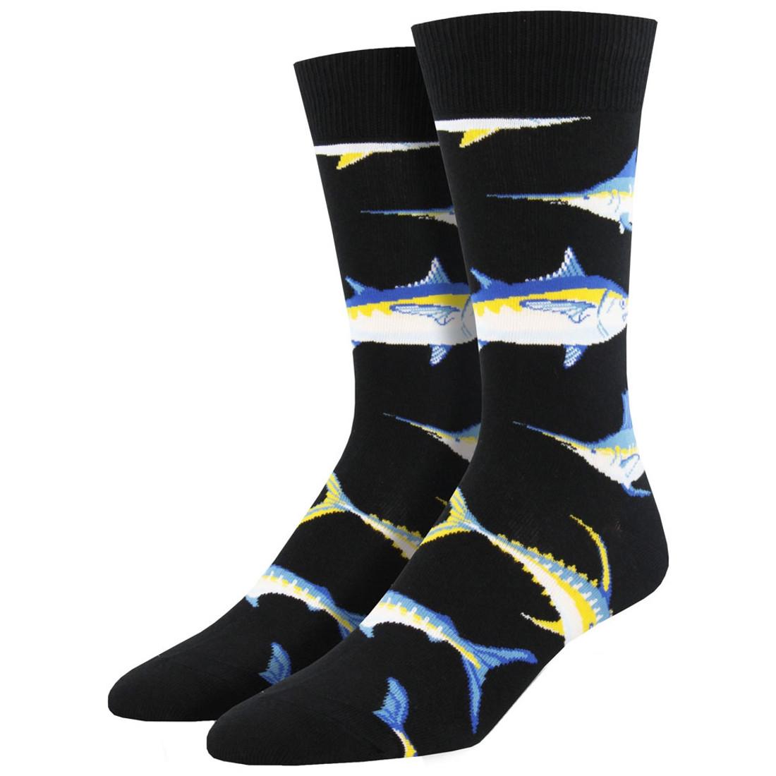 Men's Crew Socks Just For Sport Game Fish Black
