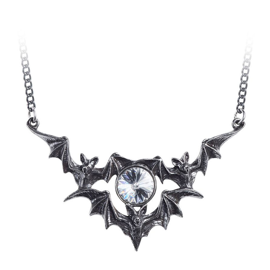 Alchemy Gothic Phantom Bat Pendant Necklace Pewter Jewelry P852