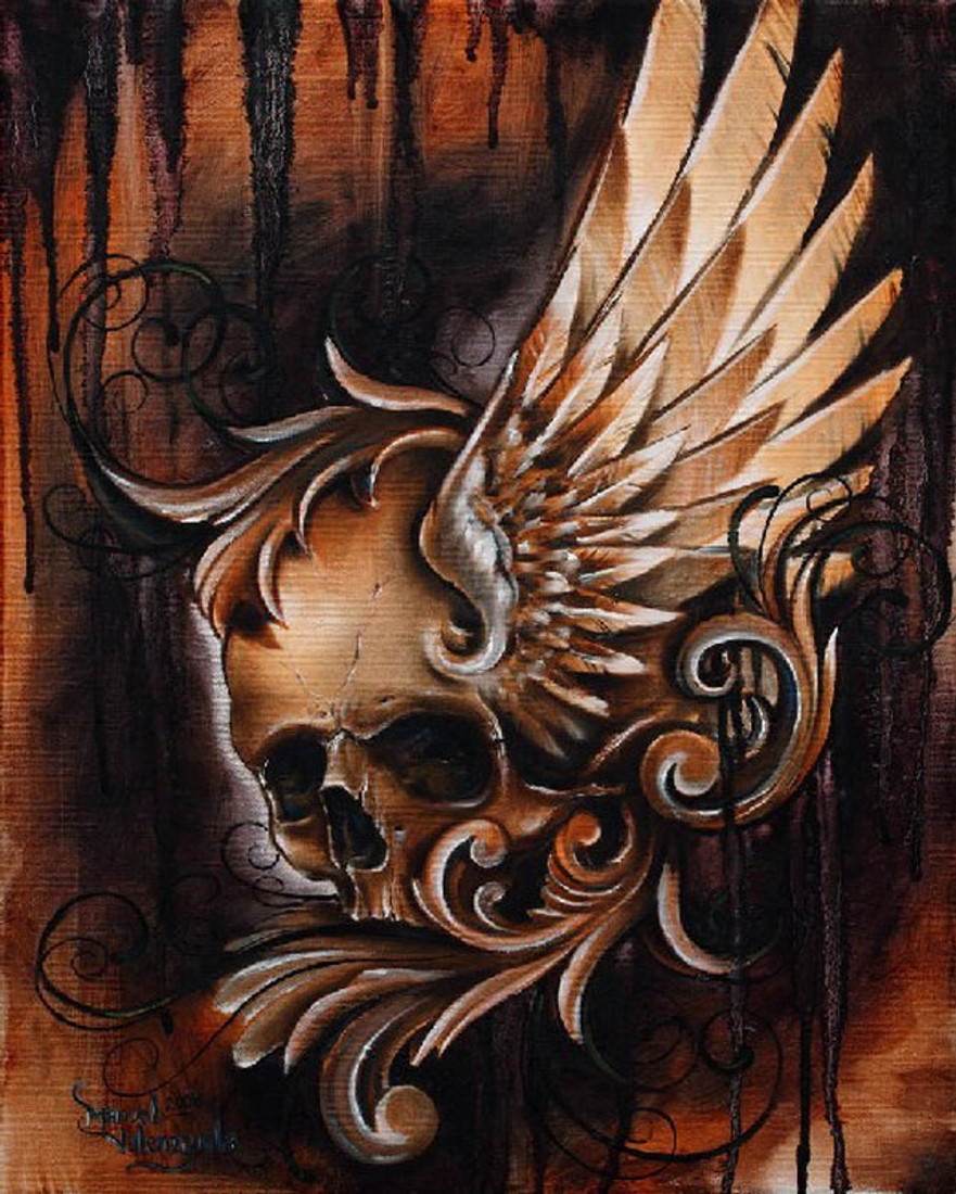 Winged Skull by Manuel Valenzuela Canvas Giclee Tattoo Art Print