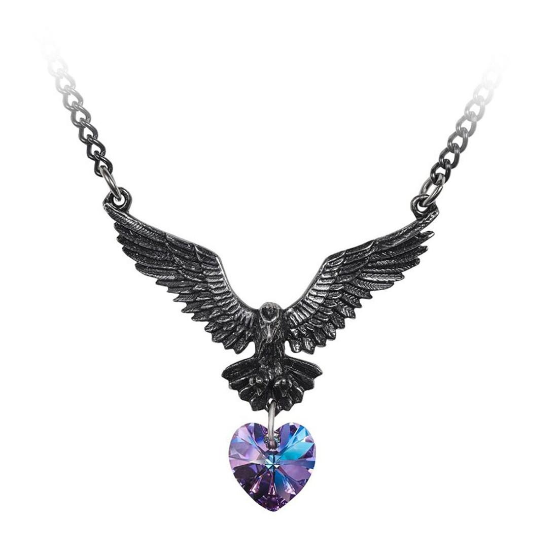 Alchemy Gothic Hamingja Raven Pendant Necklace Pewter Jewelry P857