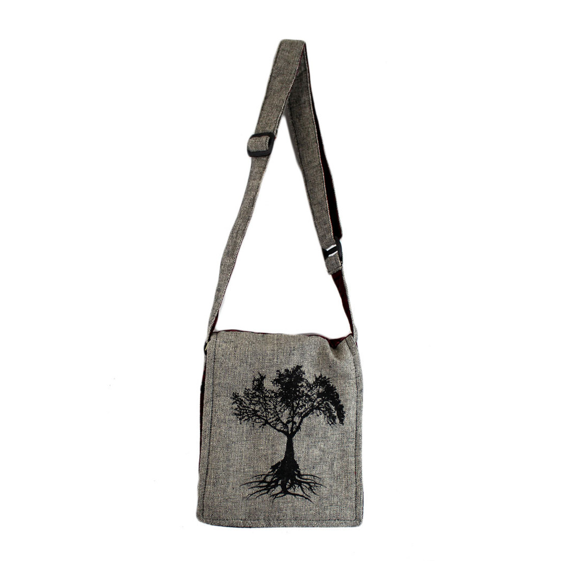 Small Gray Cotton Bag Purse with Tree of Life Design