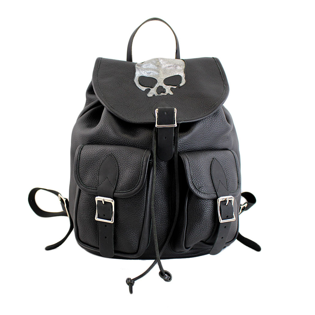 Frontside of Black Leather Backpack Travel Bag with Metallic Silver Skull